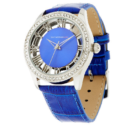 Isaac Mizrahi Live! Clear Case Colorful Strap Watch