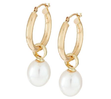 Honora 14K Yellow Gold Cultured Pearl 8 0mm Tube Hoop Earrings