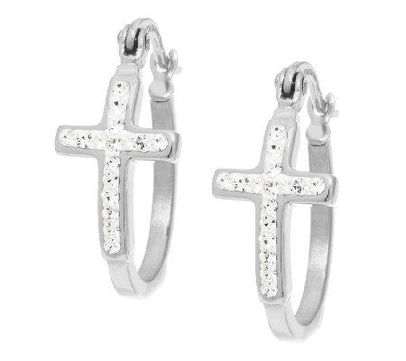 Stainless Steel Crystal Cross Design Hoop Earrings