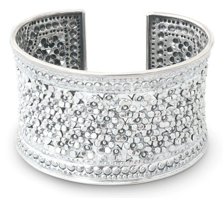 "Novica Artisan Crafted Sterling ""Meadow in Bloom"" Cuff"