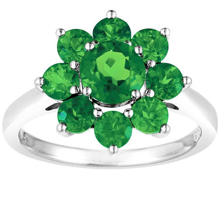 Sterling 2.40 cttw Chrome Diopside Flower Ring