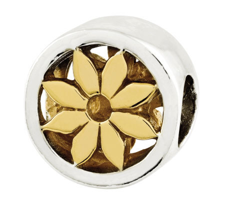 Prerogatives Sterling Goldtone Flower Bead