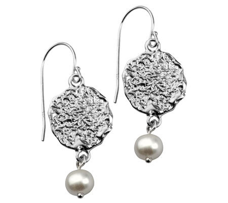 Or Paz Sterling Textured Disc Cultured Pearl Da ngle Earrings