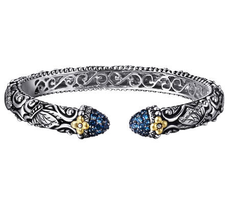 Barbara Bixby Sterling Butterfly Motif GemstoneCuff, 18K