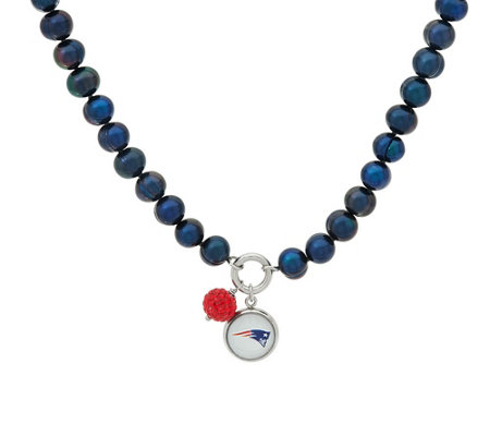 "Honora Cultured Pearl 7.0mm NFL Team 18"" Charm Necklace"