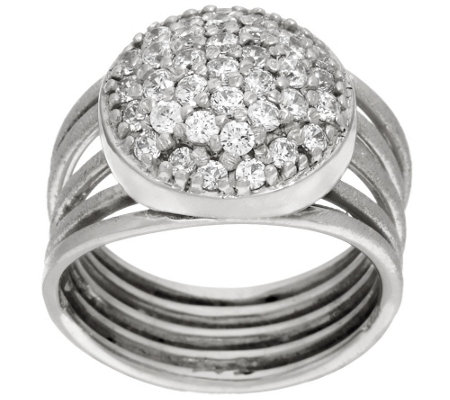 """As Is"" Italian Silver Sterling Pave' Crystal Multi-Row Ring"