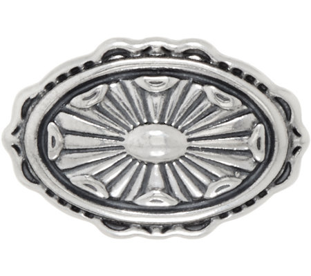 American West Sterling Silver Concha Design Oval Enhancer