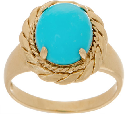 14K Gold and Kingman Turquoise Ring