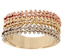 Imperial Gold Wheat Tri-Color Band Ring, 14K Gold - J354860
