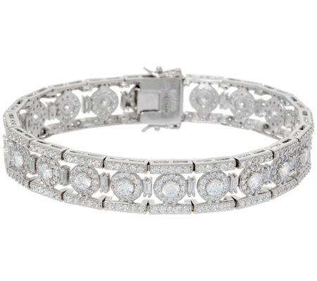 Diamonique Royal Collection Halo Bracelet, Sterling