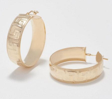 Italian Gold Large Greek Key Hoop Earrings 14k Gold