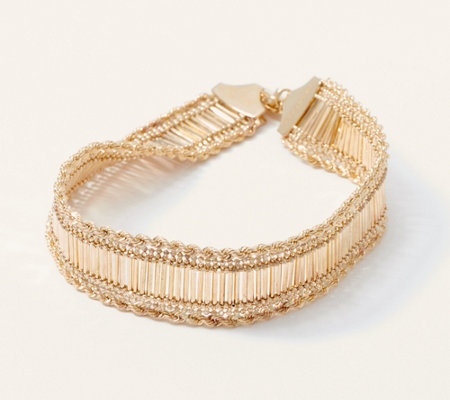 EternaGold Glitter Rope Polished Bar Bracelet, 14K Gold