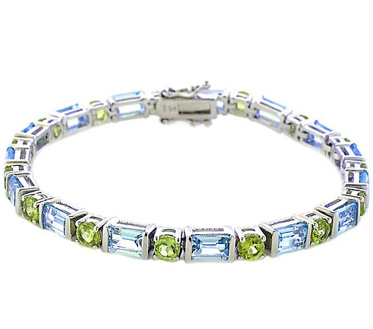 Sterling 13.00 cttw Sky Blue Topaz and PeridotTennis Bracelet