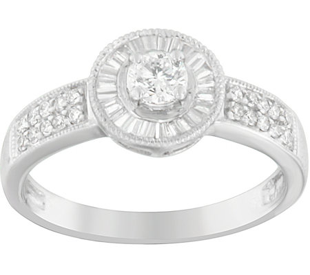 Round & Baguette Diamond Ring, 14K, 2/5 cttw, by Affinity