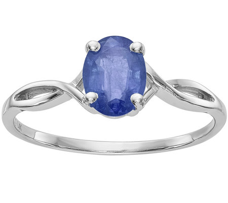 14K White Gold Oval Crisscross Gemstone Ring