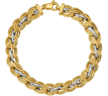 Italian Gold Two-Tone Satin and Polished Link Bracelet 14K
