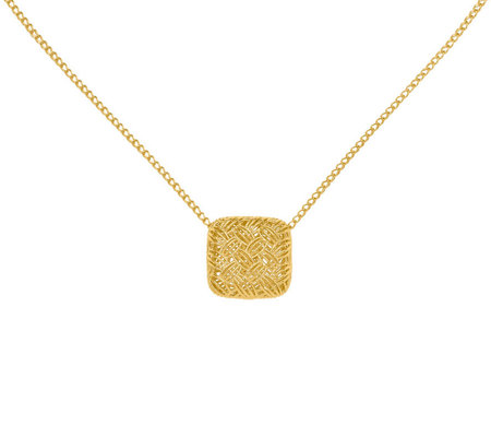 14K Gold Square Woven Pendant with Chain