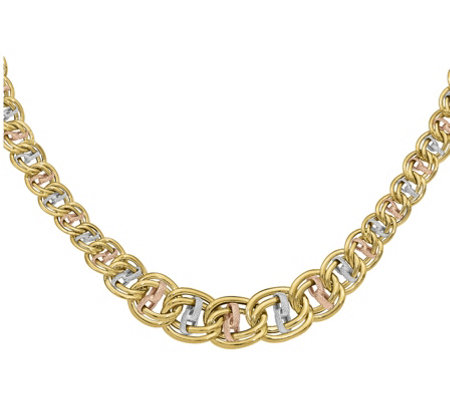 14K Tri-Color Oversized Curb & Wavy Link Necklace, 9.6g