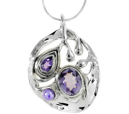 Hagit Sterling 5.00 cttw Gemstone Pendant w/Chain