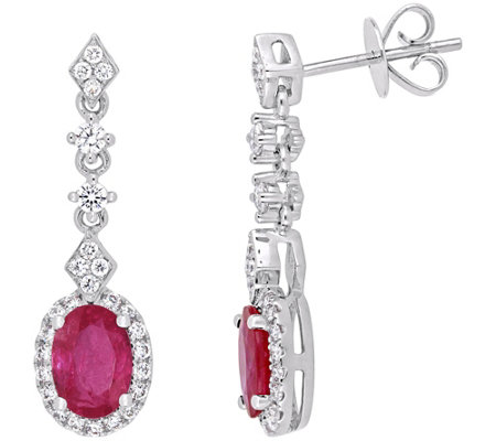 14K Gold 1.85 cttw Oval Ruby & Diamond Drop Earrings