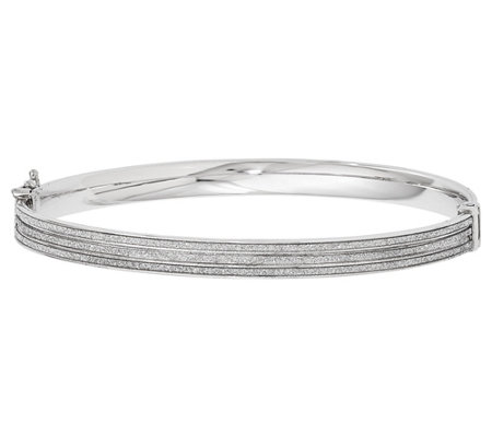 Italian Silver Glimmer Hinged Bangle, 7.8g