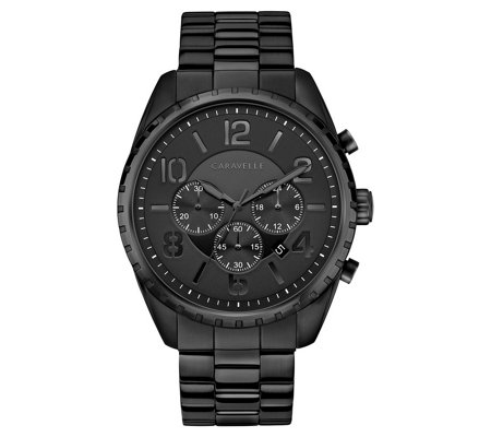 Caravelle by Bulova Men's Black Case Chronograph Watch
