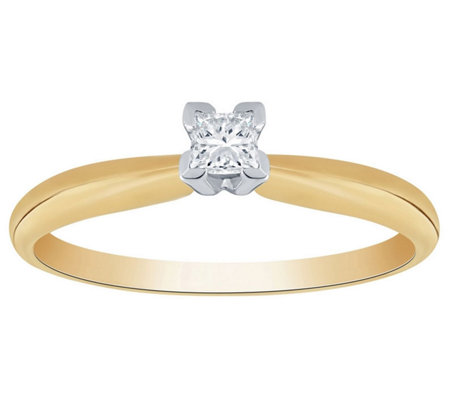 Affinity 14K 1/10 cttw Princess-Cut Solitaire Diamond Ring