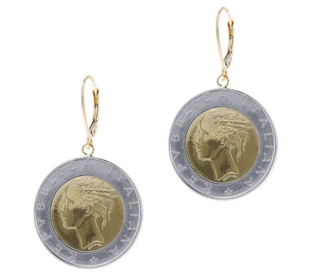 Italian Gold 500 Lire Coin Dangle Earrings 14k