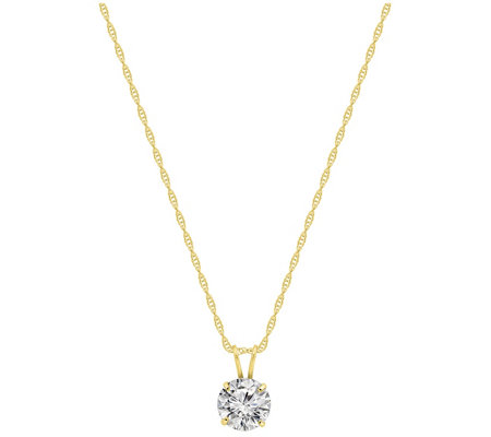 Diamonique 1.00 cttw Round Pendant w/ Chain, 14K Gold