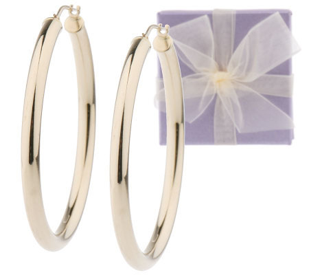 1 2 Inch Round Hoop Earrings With Gift Box 14k Gold