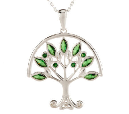 Solvar Sterling Silver Green Family Tree Pendant