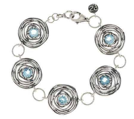 Or Paz Sterling Blue Topaz Textured Bracelet