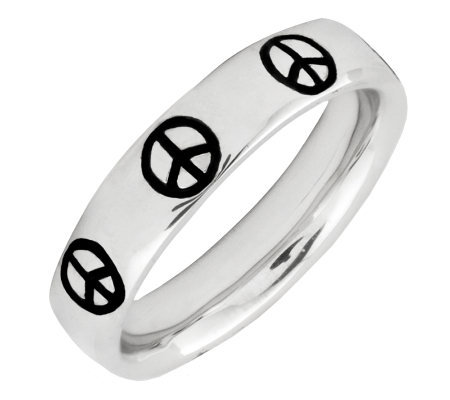Simply Stacks Sterling Epoxy Enamel Peace SignRing