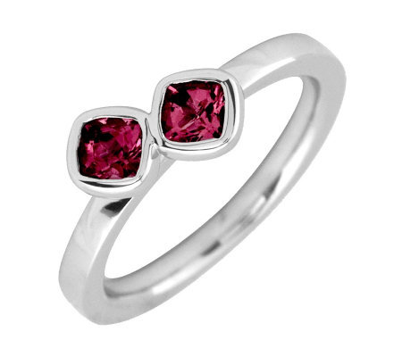 Simply Stacks Sterling Created Ruby Double-Square Ring