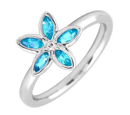 Simply Stacks Sterling & Blue Topaz Romantic Flower Ring