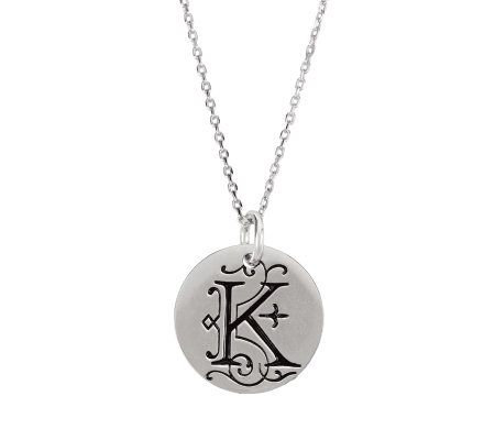 Posh Mommy Sterling Large Initial Disc Pendantwith Chain