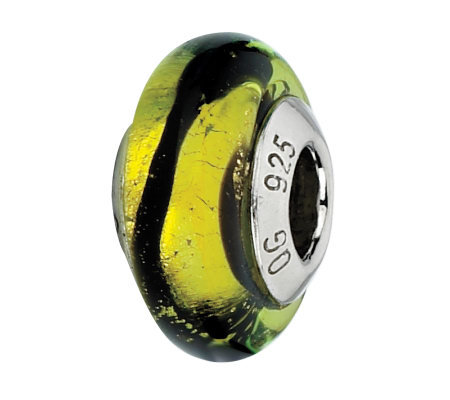 Prerogatives Lime with Black Stripes Italian Murano Glass Bead