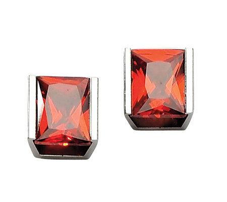 Stainless Steel Red Cubic Zirconia Stud Earrings