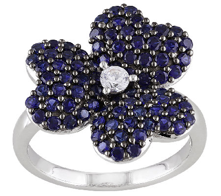 Sterling Created Blue & White Sapphire Flower Ring