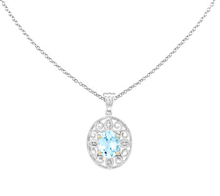Sterling & 14K 1.50cttw Blue Topaz & Diamond Pendant w/Chain
