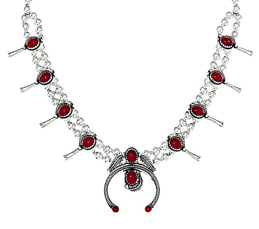 American West Sterling Red Coral Squash BlossomNecklace