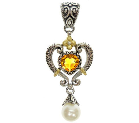 Barbara Bixby Sterling & 18K Citrine & CulturedPearl Enhancer