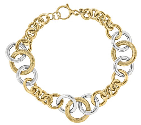 "14K Gold Two-Tone Polished & Textured Link 8-1/4"" Bracelet"