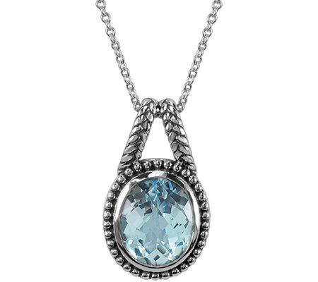 "4.40 ct Blue Topaz Pendant with 18"" Chain, Sterling"