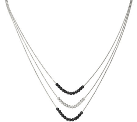 Sterling & Ruthenium-Plated Triple Strand Graduated Necklace