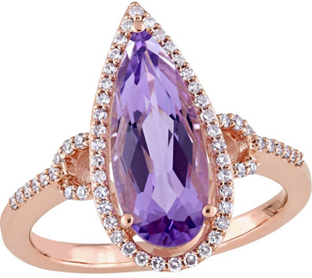 14K Gold 2.25 ct Amethyst & 1/5 cttw Diamond Ring