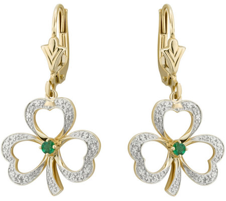 Solvar Diamond & Emerald Accent Shamrock Earrings, 14K