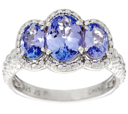 3-Stone Oval Tanzanite Sterling Silver Ring, 1.50 cttw