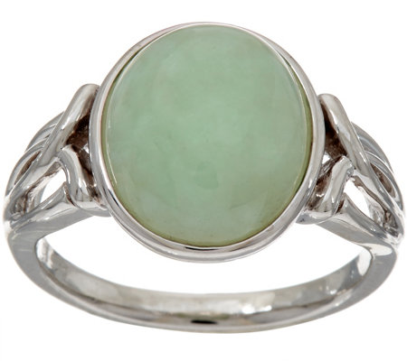 Jade Oval Sterling Silver Ring