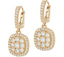 Judith Ripka 14K Gold 1.05 cttw Pave' Diamond Earrings - J348261